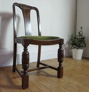 英国 アンティーク バルボスレッグ 彫刻 ダイニングチェア サロンチェア サイドチェア オーク材 椅子 イス イギリス 西洋 洋館
