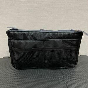 【訳あり】未使用 バッグインバッグ インナーバッグ ポーチ 収納 トラベルポーチ ブラック黒グレー