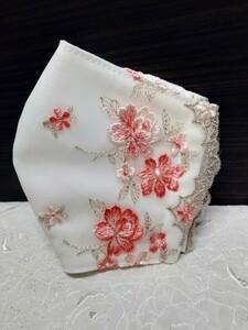 立体インナー コーラルカラー花刺繍チュールレース