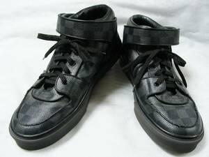 LOUIS VUITTON ルイヴィトン ◇ G00151 ダミエ グラフィット 柄 PVC レザー ハイカット ベルト スニーカー シューズ 靴
