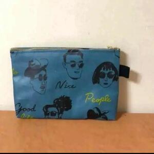 661 藍色  ハンドメイド ポーチ 化粧ポーチ メイクポーチ