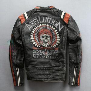 ●高品質 防風 レザージャケット ライダースジャケット バイクジャケット 刺繍 カウハイド 本革 牛革 ヴィンテージ加工 S~4XL