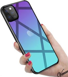 【鮮やかなオーロラ透明グラデーション】 背面ガラスケース iPhone 12 Pro 6.1インチ TPU ストラップホール 耐衝撃 指紋防止 グリップ感