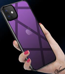 【鮮やかなパープル透明グラデーション】 背面ガラスケース iPhone 12 Pro 6.1インチ TPU ストラップホール 耐衝撃 指紋防止 グリップ感