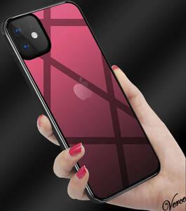 【鮮やかなレッド透明グラデーション】 背面ガラスケース iPhone 12 Pro Max 6.7インチ TPU ストラップホール 耐衝撃 指紋防止 グリップ