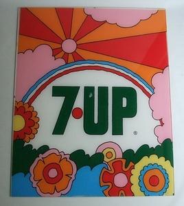 VINTAGE 当時物 7UP セブンアップ 看板 サイン 中古品 ビンテージ ピーターマックス サイケ ヒッピー スペースエイジ 60s 70s