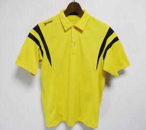 SRIXON スリクソン 半袖 ポロシャツ L レモンイエロー×ネイビー 吸汗速乾ドライ素材 ゴルフウェア 日本製