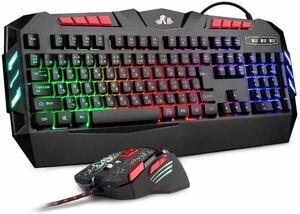 ゲーミングキーボード+マウスセット 有線106キー日本語配列虹色LED