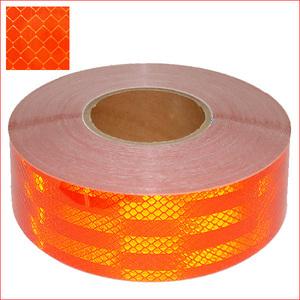 送料無料 反射テープ 1巻 幅50mm×45m 反射板ステッカー リフレクターシート オレンジ/23