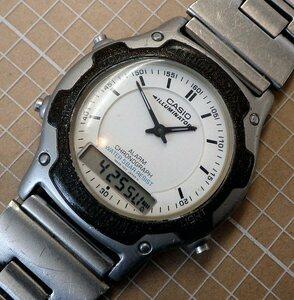 ★即決★送料無料★CASIO ILLUMINATOR AW-45 カシオ イルミネーター 白文字盤 アナデジ腕時計★電池交換済★