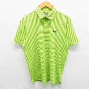 UNDER ARMOUR アンダーアーマー 半袖ポロシャツ ボーダー グリーン系 LG [240001454501] ゴルフウェア メンズ