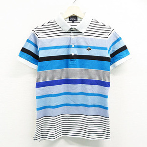 PEARLY GATES パーリーゲイツ 半袖ポロシャツ ボーダー柄 ブルー系 4 [240001470305] ゴルフウェア メンズ