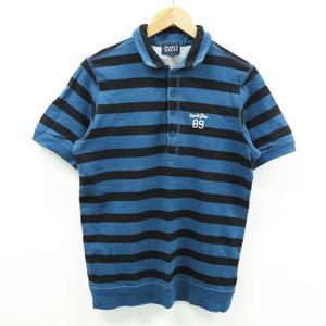PEARLY GATES パーリーゲイツ スウェット 半袖ポロシャツ ボーダー柄 ネイビー系 4 [240001472451] ゴルフウェア メンズ