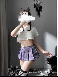 コスプレ衣装 フリーサイズ コスプレ トップス プリーツミニスカート チェック柄 Tバック