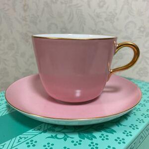 値下げ 大倉陶園 色蒔き 新品 モーニングカップ&ソーサー ピンク