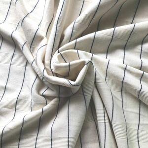 【ニット生地】白地に紺のラインボーダー 綿混 長さ125cm はぎれ ハンドメイドに