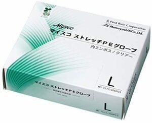 使い捨て 手袋◆マイコストレッチPEグローブ L200枚入 食品衛生法適合 内エンボス/クリア 1箱