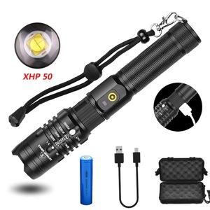 LED懐中電灯 XHP50 超高輝度 ズーム式 充電式 非常時のバッテリー 自転車 ライト 防水 停電対策 軽量 小型 5モード調光 アルミニウム合金