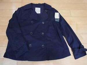 タグ替えボタンありスタディオクリップ ツイルショートトレンチコートジャケット紺ネイビーFフリー スタジオクリップ