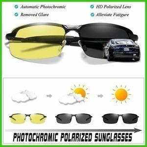 イエロー→グレー変色調光 ポラロイド・HD偏光 UV 400:合金フレーム:ブラック/サングラス・スポーツドライビングゴーグル・夜間運転