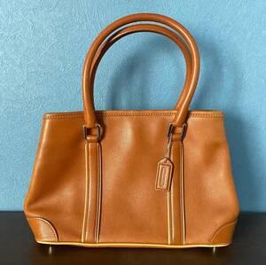 COACH コーチ レザーハンドバッグ ベージュ ブラウン キャメル 7586・E2S E2S-7586 手提げかばん 旅行用サブバッグ