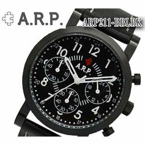 【新品ブランド時計】送料無料 A.R.P. エーアールピー腕時計 ユニセックスクオーツ アナログ クロノグラフ 革ベルト 革ベルト ARP211-BBLBK