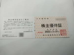 最新 東京都競馬 株主優待 大井競馬場 株主優待証 1-2枚まで