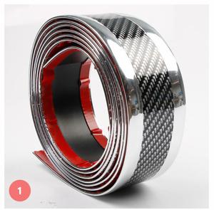 S-002 【1m×7cm】[シルバー/レッド]車のステッカー 3D カーボンファイバー ゴム プロテクター バンパーストリッププロテクター