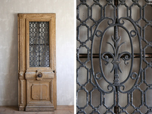 France antique * old tree iron fence attaching door / iron . door / natural wood fittings / objet d'art / store furniture / display / French Vintage / Vintage