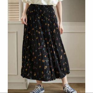 ロングスカート 小花柄 プリーツロングスカート マキシスカート プリーツスカート 花柄 ロングスカート