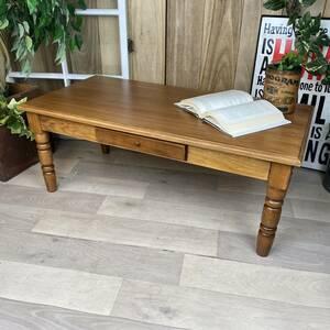 送料無料、カントリー北欧風アンティーク調パイン材チェストテーブル☆木製松材材天然無垢材、デスク、机、引き出し付き、座卓、置き台