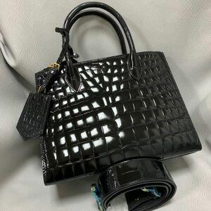 ★美品★ボンベ加工 ナイルワニ革 クロコダイル レザー シャイニング トート ショルダーバッグ 女性鞄 ブラック レディース ハンドバッグ