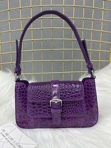 ◆◆ボンベ加工 ナイルワニ革 ハンドバッグ シャイニング ショルダーバッグ 肩掛け クロコダイルレザー 女性鞄 レディース おしゃれ ギフト