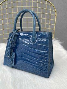 ハイライト★クロコダイル ナイルワニ革 ハンドバッグ ショルダーバッグ 本革 腹革 女性鞄 かばん レディースバッグ ブルー手提げ 斜め掛け