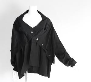 Chika Kisada ◆変形 レイヤード シャツジャケット 黒 再構築 サテン チカキサダ ◆WY13