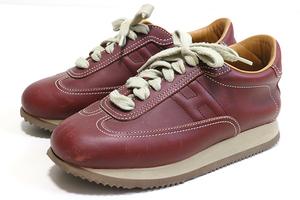 HERMES ◆ クイック スニーカー ボルドー (サイズ36 1/2) レザー シューズ 靴 イタリア製 エルメス ◆J-2