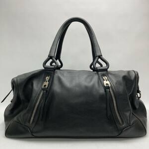 rm)BALLY バリー ボストンバッグ 旅行 ハンドバッグ ブラック 黒 レザー シルバー金具 鞄 ※中古