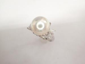 美品 タサキ 田崎真珠 Pt900 パール約10.8mm珠 ダイヤ計0.35ct デザイン リング 指輪