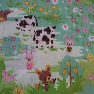 ダブルガーゼ 森の動物柄 うさぎ小鳥ちょうちょ花柄 昭和レトロ