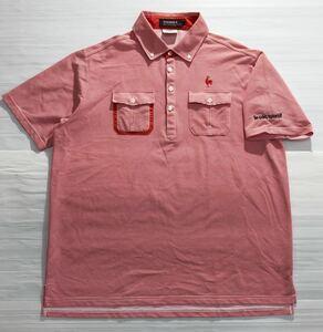《le coq sportif GOLF ルコックゴルフ》ホワイトライン ロゴ刺繍 ボーダー柄 ボタンダウン 半袖 ポロシャツ ホワイト×レッド LL