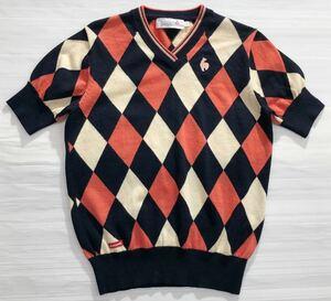 《le coq sportif GOLF ルコックゴルフ》ロゴ刺繍 ダイヤ編み柄 ウール 半袖 ニット セーター ネイビー×ピンク×アイボリー M