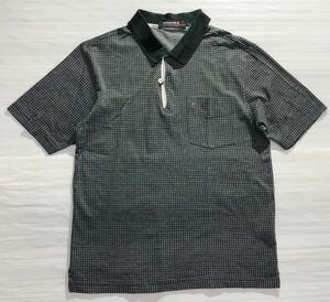 《le coq sportif GOLF ルコックゴルフ》ロゴ刺繍 総柄 半袖 ポロシャツ グレー×ブラック M