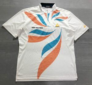 《le coq sportif GOLF ルコックゴルフ》ロゴ刺繍 ハーフジップ 半袖 モックネックシャツ ホワイト LL