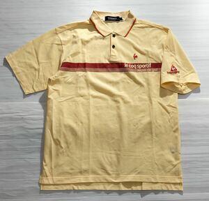 《le coq sportif GOLF ルコックゴルフ》ロゴ刺繍 半袖 ポロシャツ イエロー L