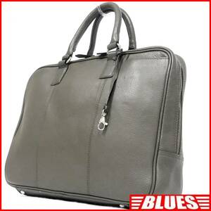 即決★HILTON★オールレザービジネスバッグ ヒルトン メンズ グレー 本革 かばん 本皮 通勤 ブリーフケース 出張カバン 鞄 書類カバン