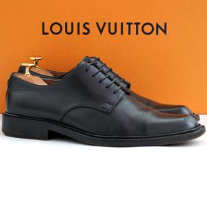 イタリア製★ルイヴィトン LOUIS VUITTON★プレーントゥ 5.5=25 ST0100 ドレスシューズ スクエアトゥ ビジネス メンズ 黒 レザー fk v-497