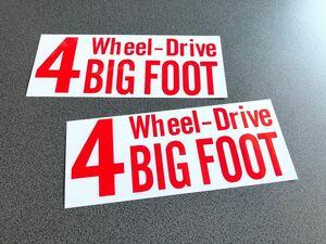送料無料♪ 四駆 4wheel drive ステッカー 赤色 お得2枚セット アメ車 4wd タンドラ 4ランナー ランクル プラド パジェロ ハマー FJ