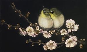 生田宏司「梅に目白」銅版画 カラーメゾチント 額装 鳥 花 春