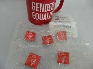 SDGsピンバッジ5個 (4730円税込)(国連ブックショップ購入・新品未使用・送料無料)(Gender equality)(5: ジェンダー平等実現 )UN35