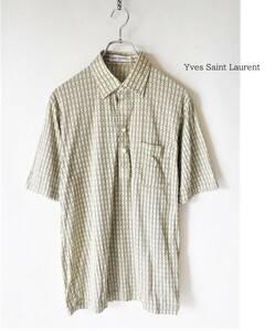 Yves Saint Laurent イヴサンローラン ロゴ刺繍 総柄 半袖 シャツ sizeL メンズ トップス 柄シャツ 古着 ポロシャツ